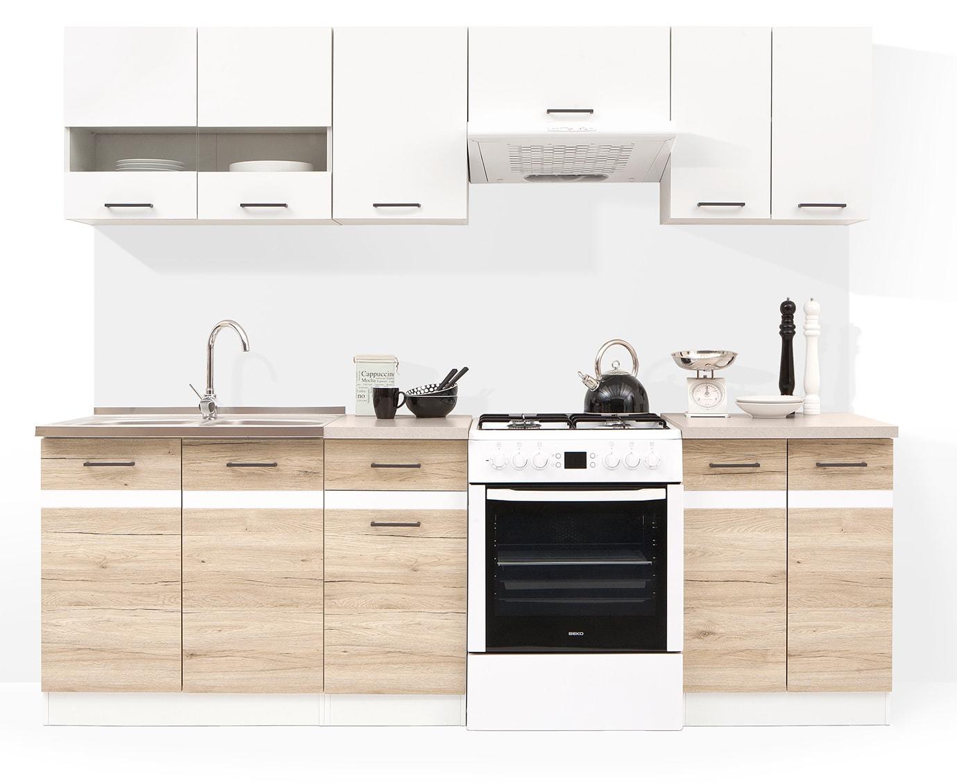 fiwodo k che k chenzeile einbauk che 2 4m eiche sanremo weiss erweiterbar neu ebay. Black Bedroom Furniture Sets. Home Design Ideas