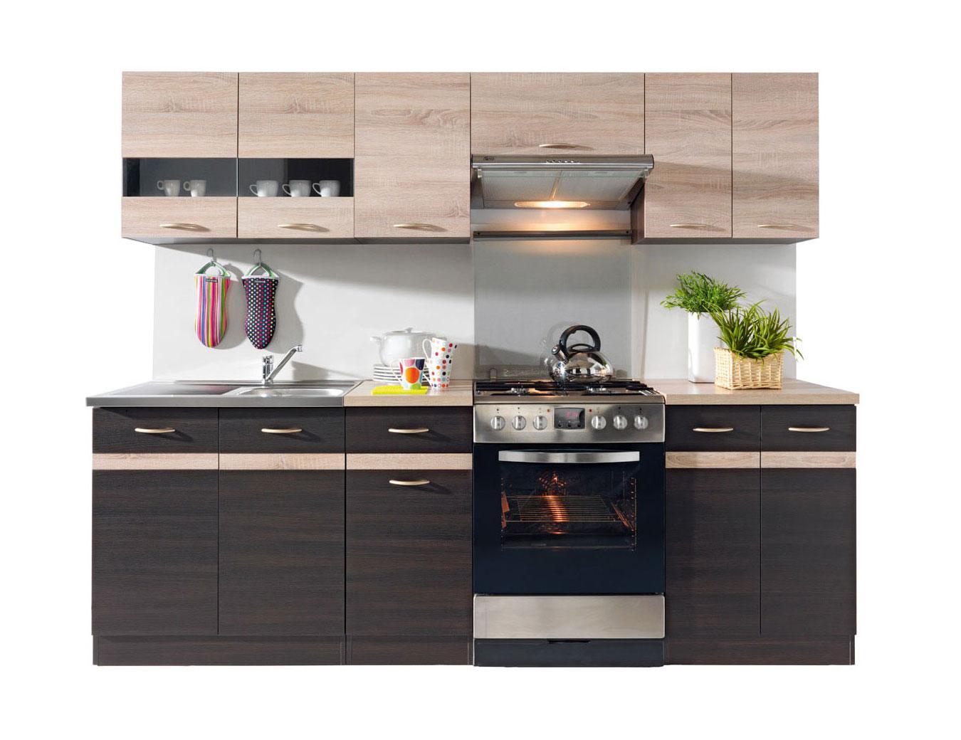 fiwodo k chenzeile k che einbauk che 2 4m wenge sonoma eiche ab lager neu ebay. Black Bedroom Furniture Sets. Home Design Ideas