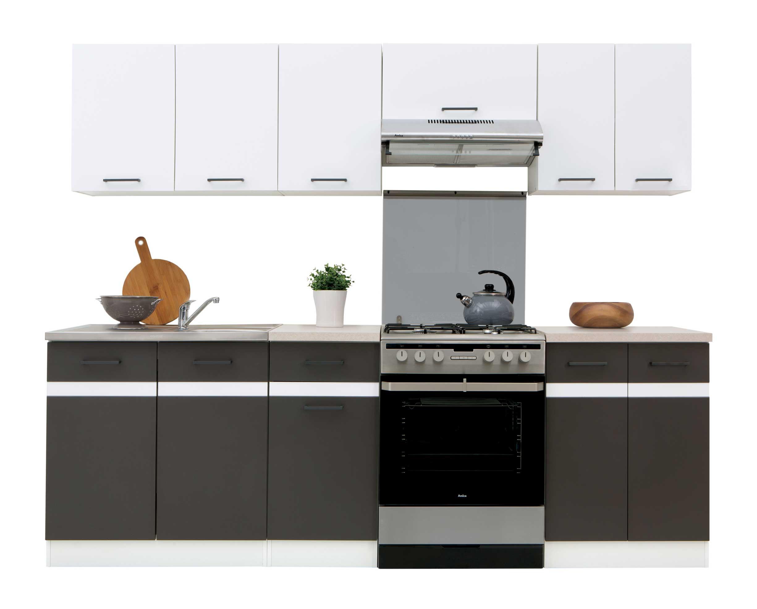 Details zu Küchenzeile Küche Einbauküche 2,4m - modern grau weiss AB LAGER  erweiterbar NEU