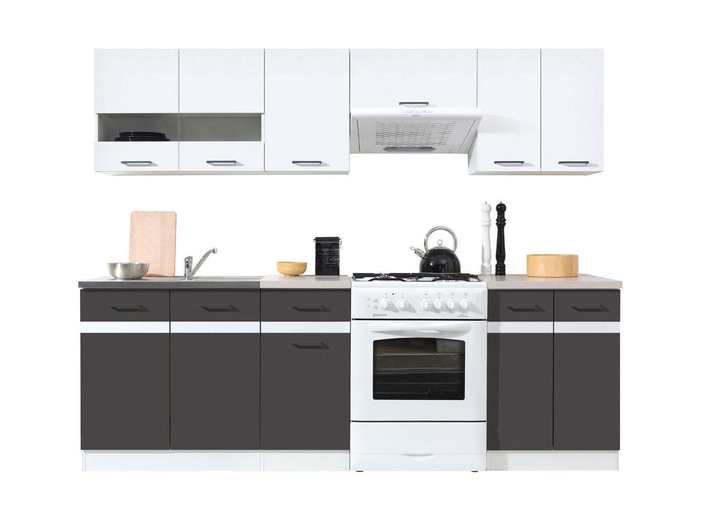k chenzeile k che einbauk che 2 4m modern grau weiss ab lager erweiterbar neu ebay. Black Bedroom Furniture Sets. Home Design Ideas