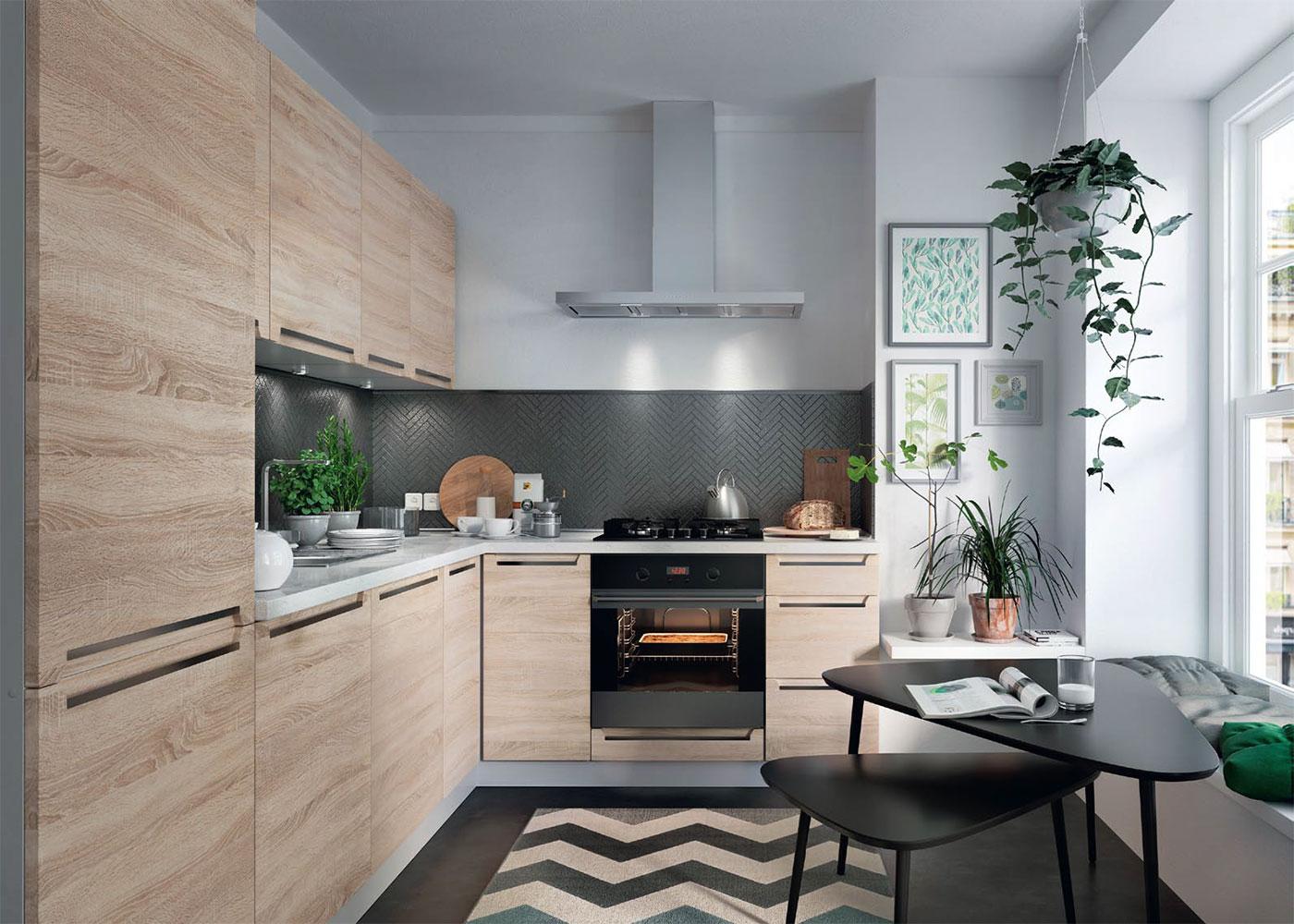 Einbauküche mit Elektrogeräten Spülbecken Küche Küchenzeile E ...