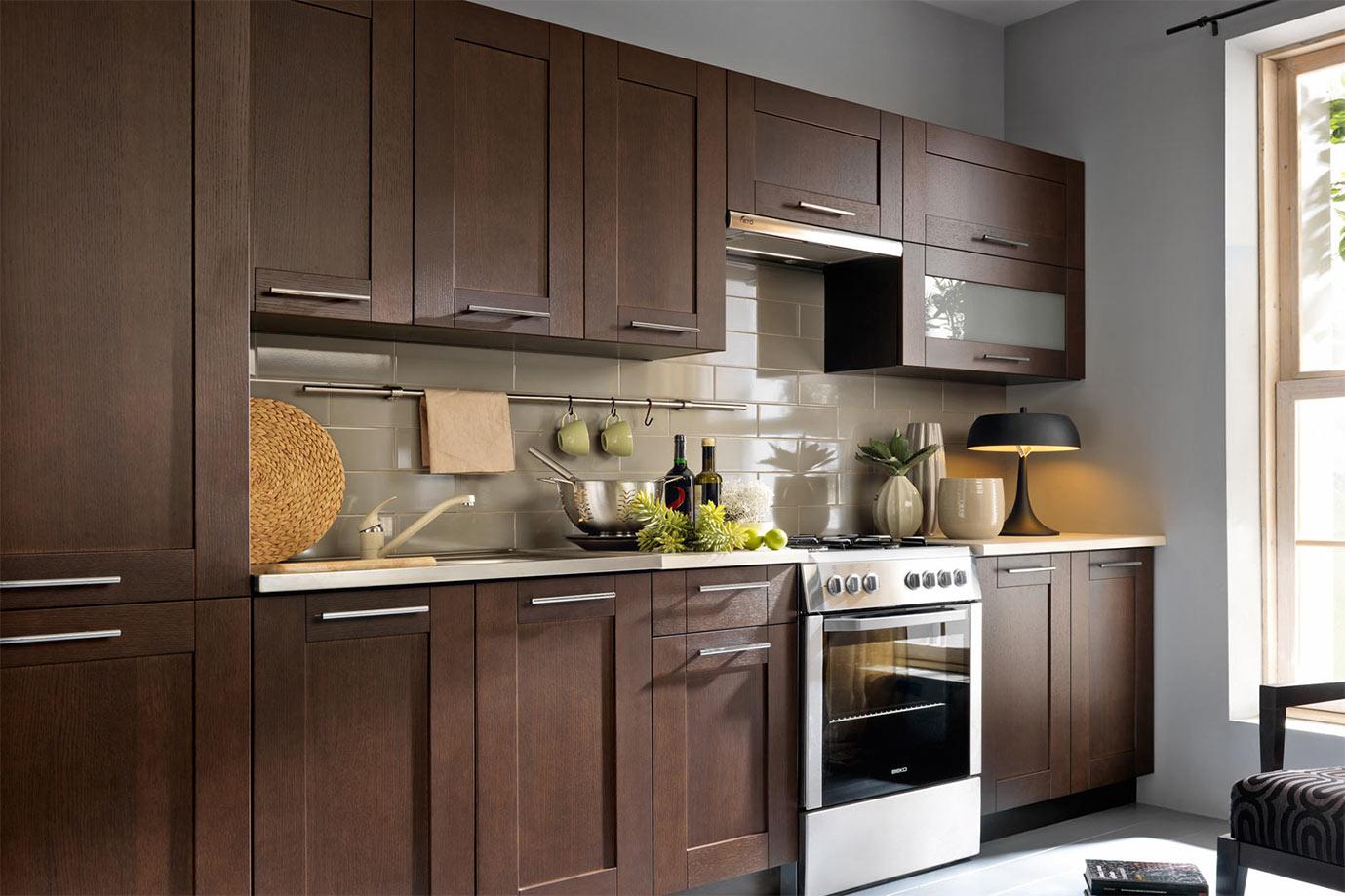 Küche Einbauküche Küchenzeile 320cm - modern wenge massivholz ...