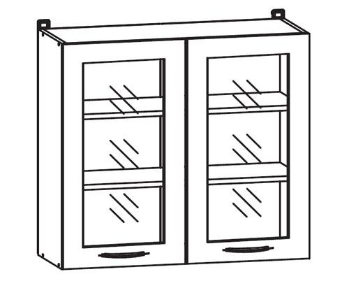k chenschrank nkg 80 72 lv pv glasvitrinenschrank k chenkollektion nika ihr m bel. Black Bedroom Furniture Sets. Home Design Ideas