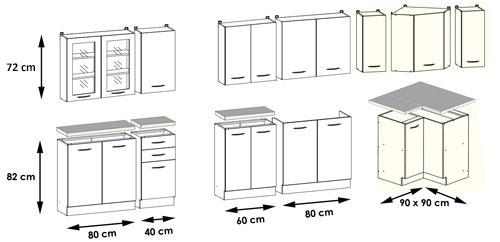 Maße küchenschränke  Küchenset: L-Form Set komplett - 12 Schränke inkl. Arbeitsplatten ...