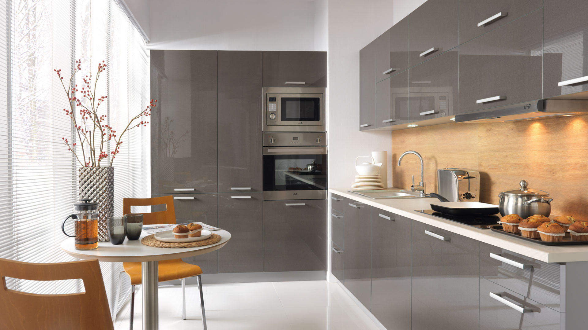 Küchen frontfarbe lackiert tapo grafitgrau hochglanz