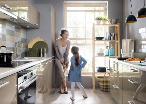 große Einbauküche Küche 420cm mit Hochschränken - modern grau ...